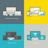 Website design concepts in modern awesome flat styles — Stock Vector
