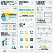 Big flat colored infographic elements vector set — Stock Vector