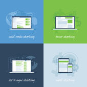 Internet marketing and advertising concepts in flat vector template — 图库矢量图片