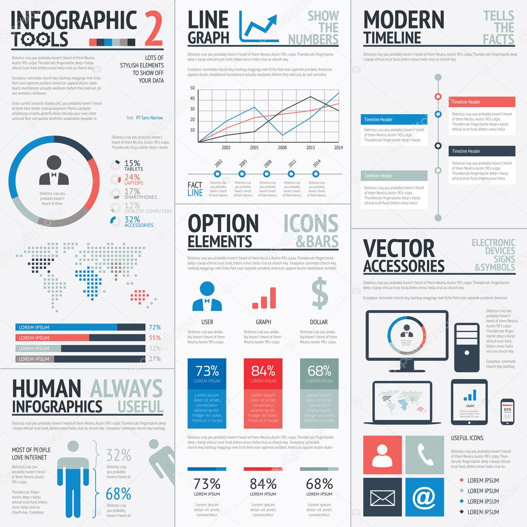 Blue and red flat simple vector infographic elements ...