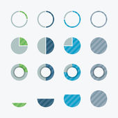 Very useful pie chart and percent flat vector design elements — Stock Vector