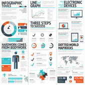 Big colorful set of infographic business elements in vector format — Stockvektor