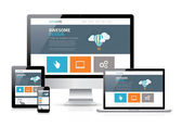 Moderne platte webdesign in vector responsieve website — Stockvector
