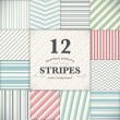Set of 12 stripes and lines seamless vector texture backgrounds — Stock Vector #48451993