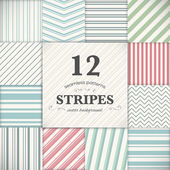 Set of 12 stripes and lines seamless vector texture backgrounds — Stock Vector