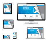 Responsive web design vector concept with curved paper corner — Stock Vector