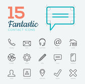 Fantastic flat thin line vector contact & communication icon set — Vector de stock