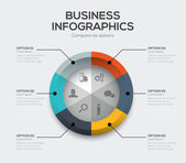 Business options vector. Modern ui infographics with six choices — Stock Vector