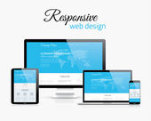 Responsive web design in modern flat vector style concept image — Stock Vector