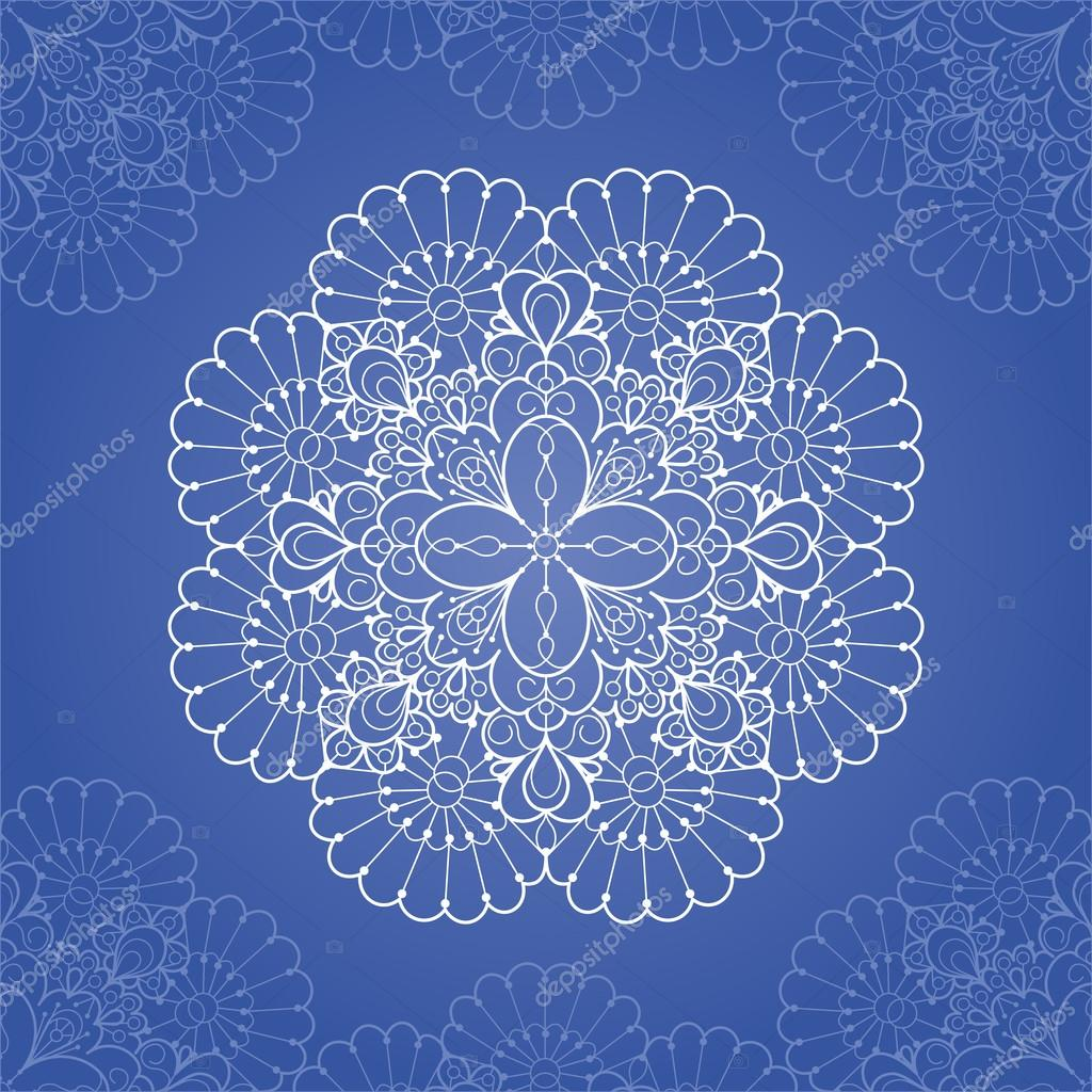 Ornamental round lace pattern. Circle lace doily — ベクター素材ストック #13355906