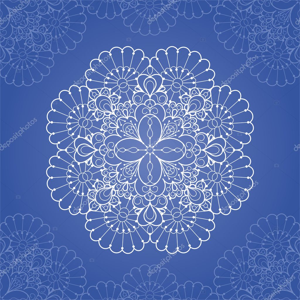 Ornamental round lace pattern. Circle lace doily — Векторная иллюстрация #13355906