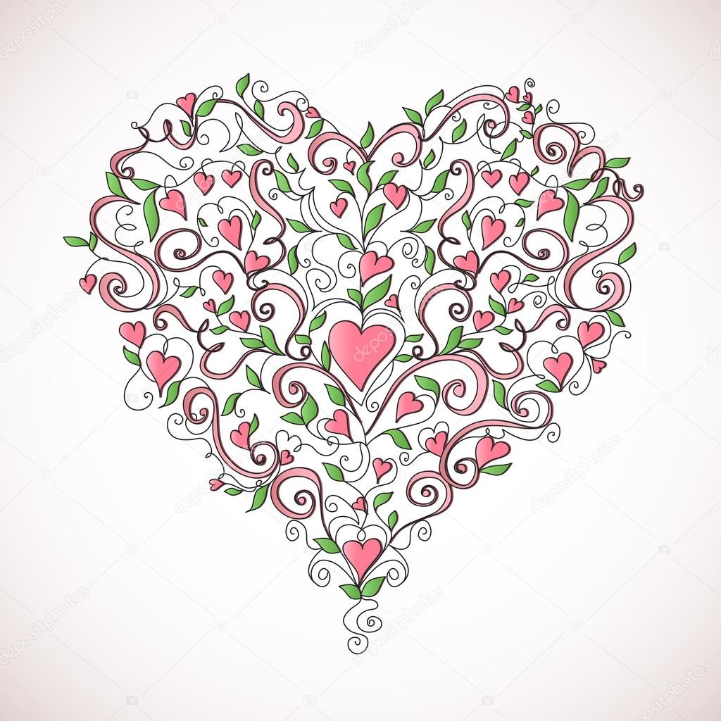 Heart-shaped ornament. Floral ornament with hearts. Romantic pattern. — Stock Vector #13356312