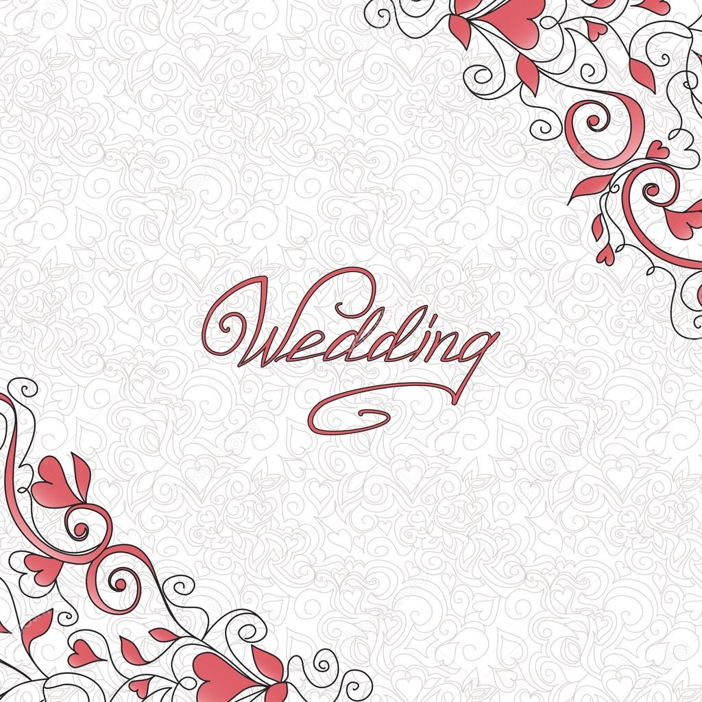 Background with hearts. Template of wedding card.  Grafika wektorowa #14141370