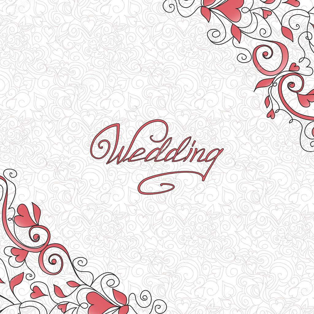 Background with hearts. Template of wedding card. — Векторная иллюстрация #14141370