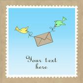 Oiseaux, distribution du courrier — Vecteur
