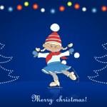 Christmas card with cartoon girl skating — Stock Vector
