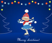 Christmas card with cartoon girl skating — Stok Vektör