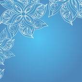 Blue background with floral ornament — Vector de stock