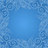Blue background with floral ornament — ストックベクタ