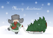 Boy pulling a sledge with christmas tree — Vector de stock