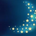 Background with a moon made of shiny cartoon stars — Stock Vector