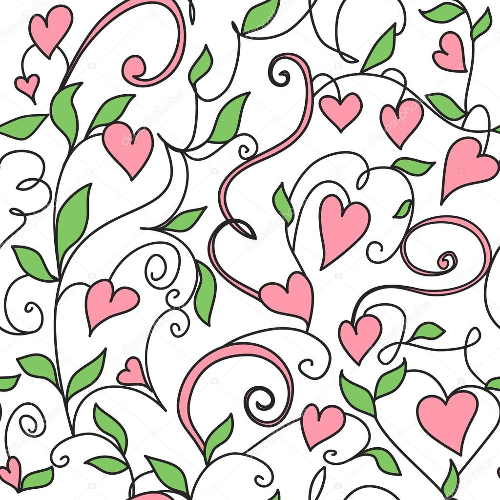 Seamless background with hearts ornament. Floral pattern with hearts. — Stock Vector #18824617