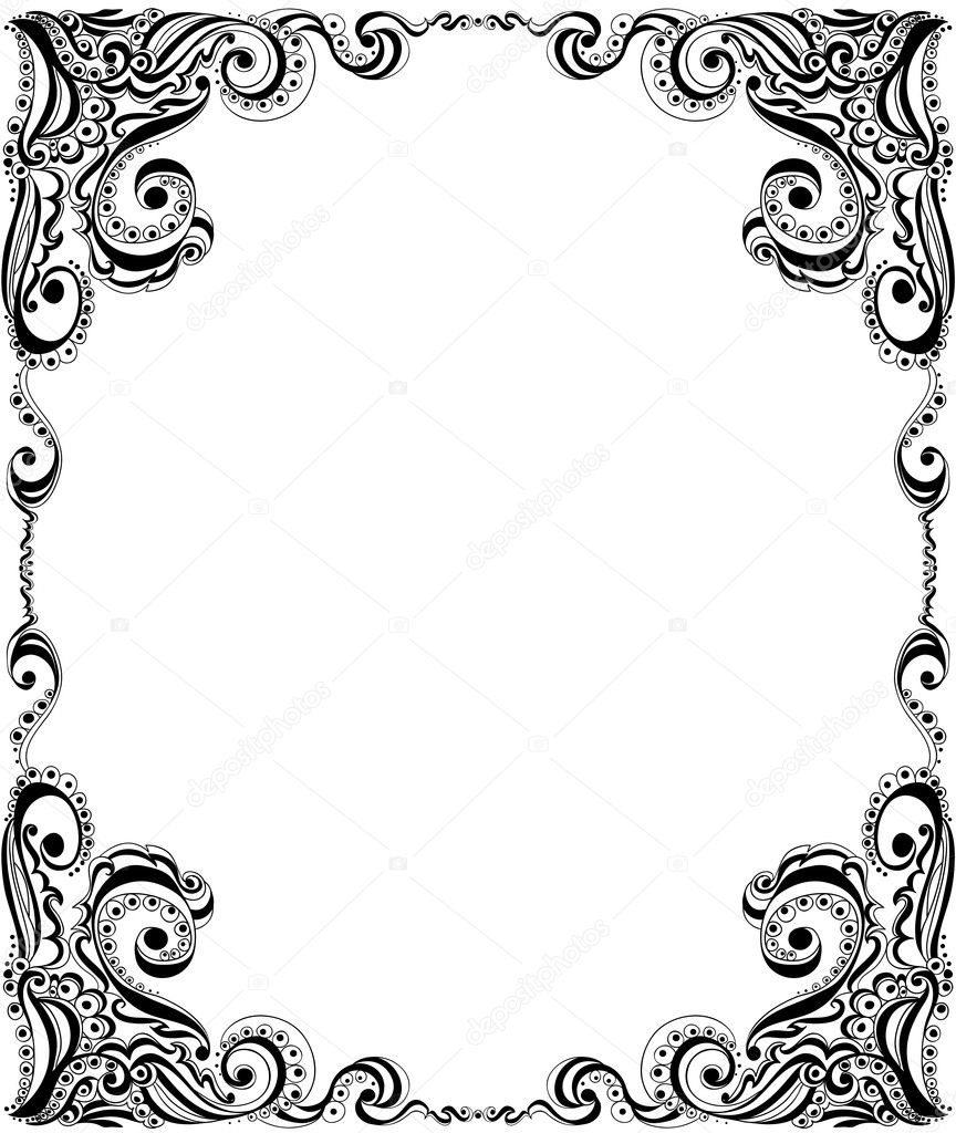 Abstract floral pattern. Template frame design for card. — Stock Vector #18824657