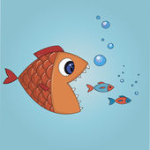 Fish trying to eat two small fishes — Stock Vector