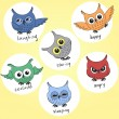 Vector de stock : Cartoon owls in different moods