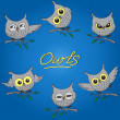 Vettoriale Stock : Cartoon owls in different moods