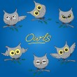 Cтоковый вектор: Cartoon owls in different moods