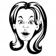 Surprised woman face — Imagen vectorial