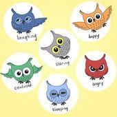 мультфильм совы в разных настроений — Cтоковый вектор