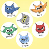 Cartoon owls in different moods — ストックベクタ