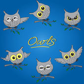 Cartoon owls in different moods — Stock vektor