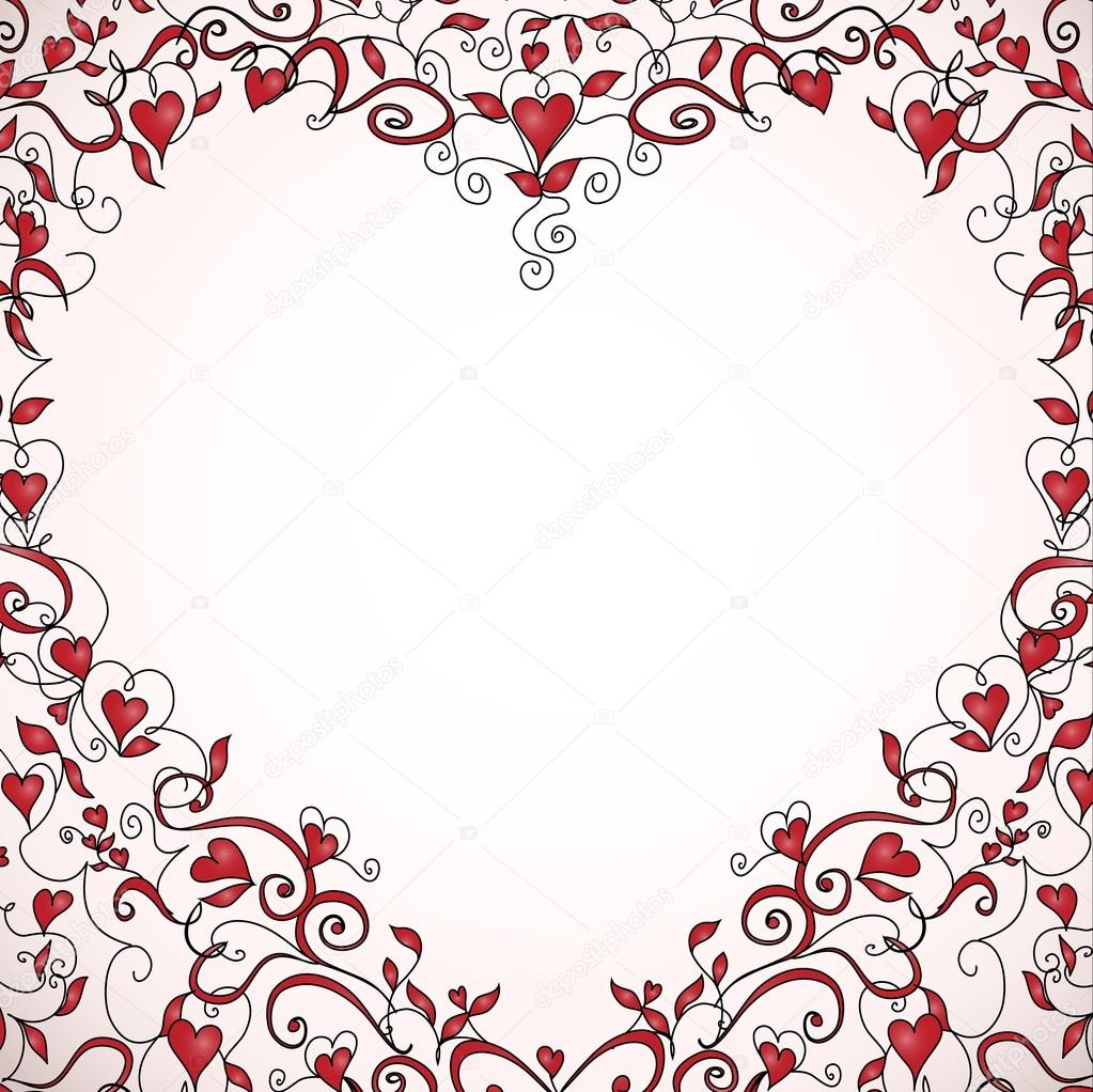 Heart-shaped frame with space for your text. Floral ornament with hearts. Template for valentine's day card, wedding invitation. — ベクター素材ストック #19162815