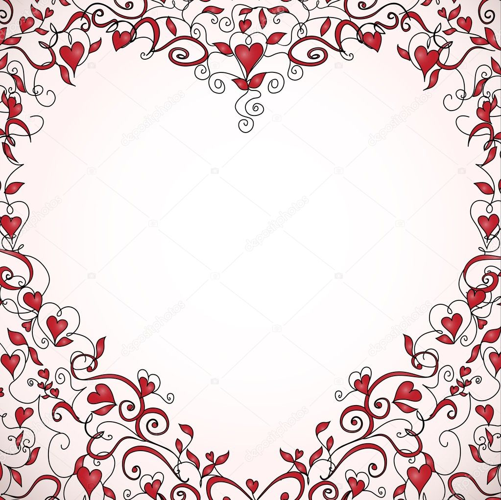 Heart-shaped frame with space for your text. Floral ornament with hearts. Template for valentine's day card, wedding invitation.  Stock vektor #19162815