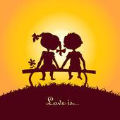Coucher de soleil silhouettes de garçon et fille — Vecteur