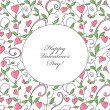Valentine's Day card with hearts ornament — Imagen vectorial