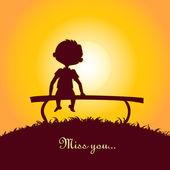 Silhueta do sol de um garoto solitário — Vetorial Stock