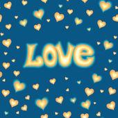 Liebe schriftzug vor hintergrund mit herzen — Stockvektor