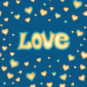 Miłość napis na tle z serca — Wektor stockowy