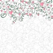 Background with hearts and floral ornament - Stok Vektör
