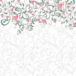 Background with hearts and floral ornament - Векторная иллюстрация