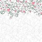fondo con corazones y ornamento floral — Vector de stock