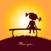 Coucher de soleil silhouette d'une jeune fille solitaire — Vecteur