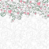 Background with hearts and floral ornament — Stok Vektör