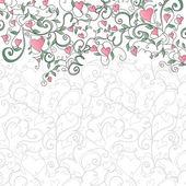心と花の飾りと背景 — ストックベクタ
