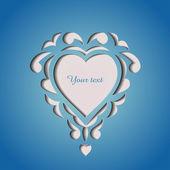 Carta del ritaglio di carta con il cuore — Vettoriale Stock