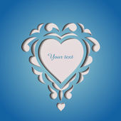 Paper cutout card with heart — Vector de stock